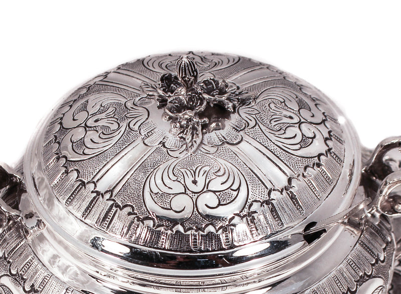 925 STERLING SILVER CHASED GARLAND DESIGNED HONEY DISH WITH GLASS INSERT & TRAY
