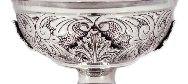 FINE 925 STERLING SILVER LEAF APPLIQUE FLOWER HANDLE LID HONEY DISH WITH COVER