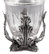 925 STERLING SILVER ITALIAN CHASED LEAF APPLIQUE HONEY DISH WITH GLASS INSERT