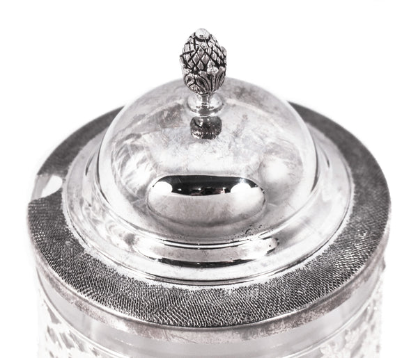 925 STERLING SILVER ITALIAN CHASED FLOWER CUT OUT HONEY DISH WITH GLASS INSERT