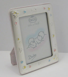 FINE ITALIAN SILVER LAMINATE PINK BABY BUTTERFLY FLORAL MATTE PICTURE FRAME