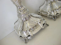 FINE 925 STERLING SILVER HAND WROUGHT INTRICATE SWIRL CHASED ORNATE CANDLESTICKS