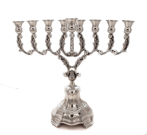 925 STERLING SILVER HAND LEAF EMBOSSED OLYMPUS GLOSSY BASE CHANUKAH MENORAH
