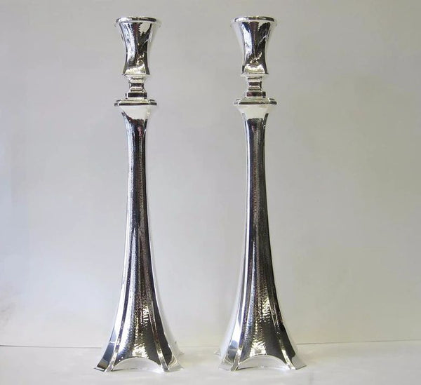 925 STERLING SILVER HAND WROUGHT MODERN SEMI HAMMERED CANDLESTICKS