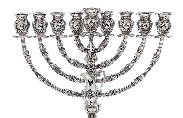 FINE 925 STERLING SILVER HANDMADE ORNATE ANTIQUE DESIGN HANUKKAH MENORAH