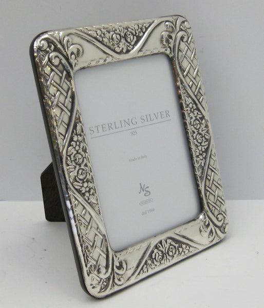 ITALIAN 925 STERLING SILVER HAND EMBOSSED FLORAL WOVEN 3.50 X 5 PICTURE FRAME