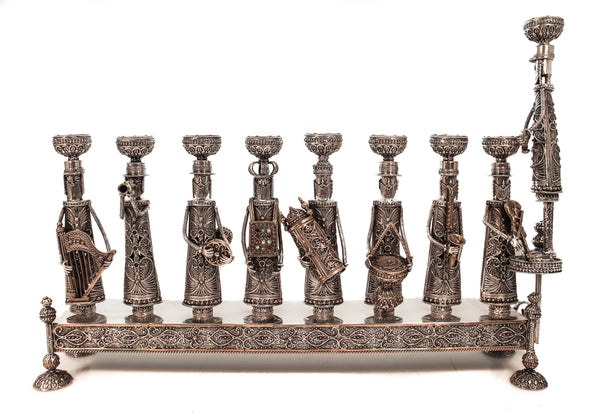 925 STERLING SILVER & GILDED HANDMADE ORCHESTRA FILIGREE UNIQUE CHANUKAH MENORAH