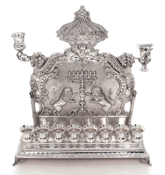 925 STERLING SILVER SHINY LION FLORAL CROWN CHASED CHANUKKAH MENORAH