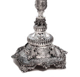 FINE ITALIAN 925 STERLING SILVER SQUARE BASE ORNATE GALLERY CHANUKAH MENORAH