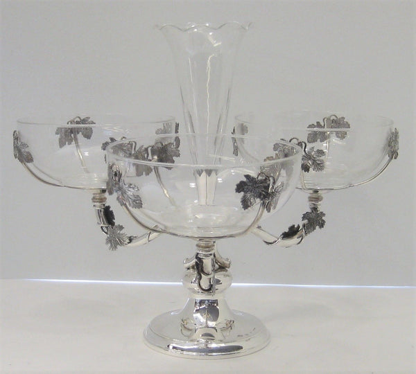 925 STERLING SILVER ITALIAN HANDMADE GLOSSY VINE LEAF 4 GLASS DISH CENTERPIECE