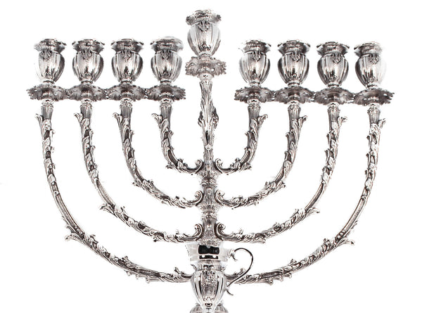 FINE 925 STERLING SILVER HANDCRAFTED ORNATE LARGE BELLAGIO CHANUKAH MENORAH