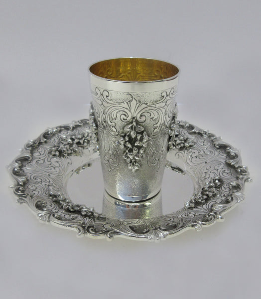 FINE ITALIAN 925 STERLING SILVER HANDMADE CHASED FLORAL LEAF SWIRL CUP & TRAY