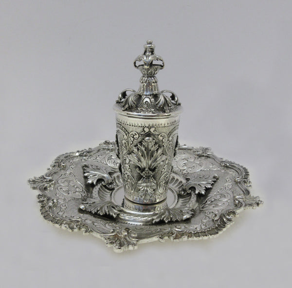 FINE ITALIAN 925 STERLING SILVER HANDMADE CHASED APPLIQUE CUP & TRAY & COVER