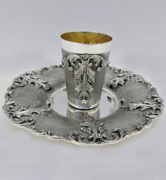 925 STERLING SILVER HANDMADE HEAVY CHASED LEAF SWIRL MATTE & SHINY CUP & TRAY