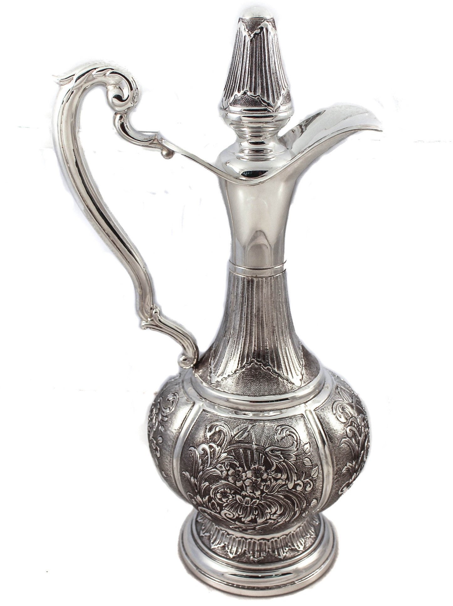 FINE ITALIAN 925 STERLING SILVER FINE CHASED DECANTER WITH FLOWER PATTERN