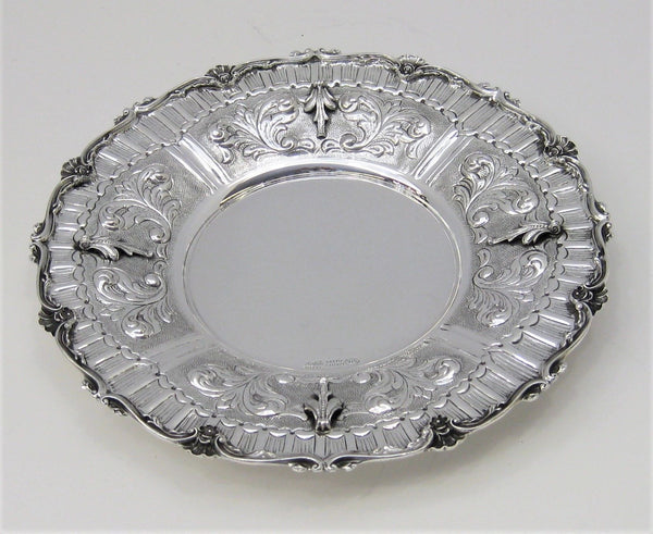 925 STERLING SILVER HANDMADE EMBOSSED LEAF APPLIQUES ROUND TRAY SHELL BORDER