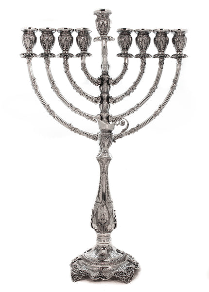 925 STERLING SILVER HANDMADE CHASED ROUND LACE WORK ON BASE CHANUKAH MENORAH