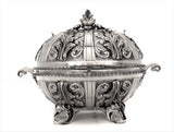 925 FINE STERLING SILVER ORNATE GARLAND DESIGN LEAF APPLIQUE ESROG BOX