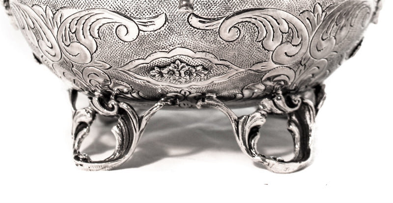 FINE 925 STERLING SILVER ORNATE MATTE FLORAL ELEGANT CARRIAGE ESROG JEWELRY BOX