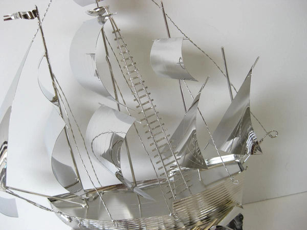 ITALIAN SILVER PLATED & AMETHYST ROCK HANDCRAFTED DETAILED SAILBOAT