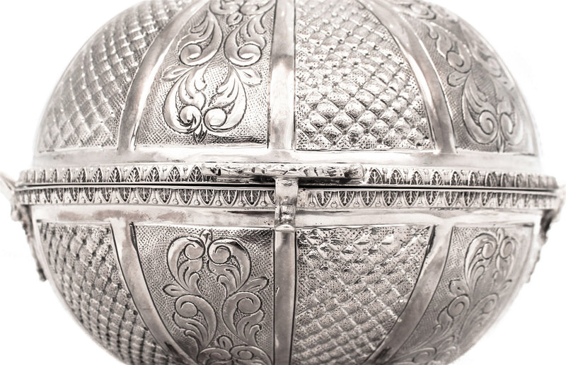 925 STERLING SILVER INTRICATE WOVEN CHASED FLORAL CARRIAGE ESROG JEWELRY BOX