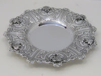 FINE 925 STERLING SILVER HANDMADE CHASED LEAF APPLIQUES DOR ROUND PLATE/TRAY