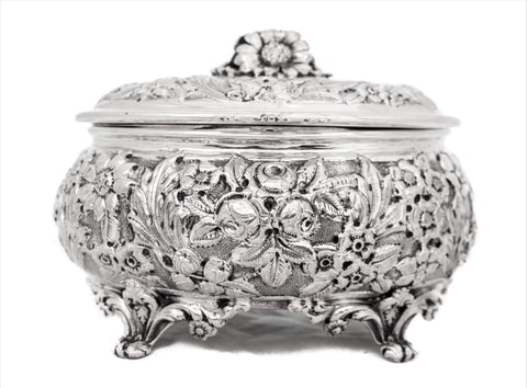 ITALIAN 925 STERLING SILVER INTRICATE HEAVY FLORAL MATTE OVAL ESROG JEWELRY BOX