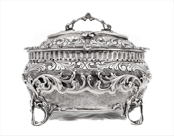 FINE ITALIAN 925 STERLING SILVER GARLAND & FLORAL DESIGN CHASED OVAL ESROG BOX