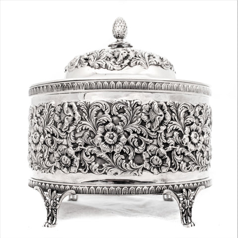 LARGE PORTUGUESE 925 STERLING SILVER HANDMADE DETAILED FLORAL ESROG JEWELRY BOX