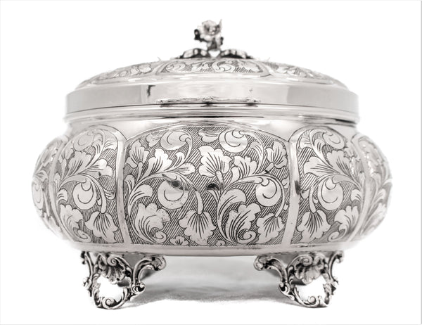 FINE 925 STERLING SILVER GARLAND DESIGN LEAF APPLIQUE OVAL ESROG JEWELRY BOX