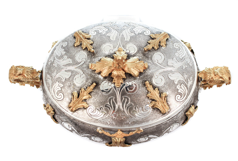 FINE 925 STERLING SILVER/GOLD GUILDED GARLAND DESIGN LEAF APPLIQUE ESROG BOX