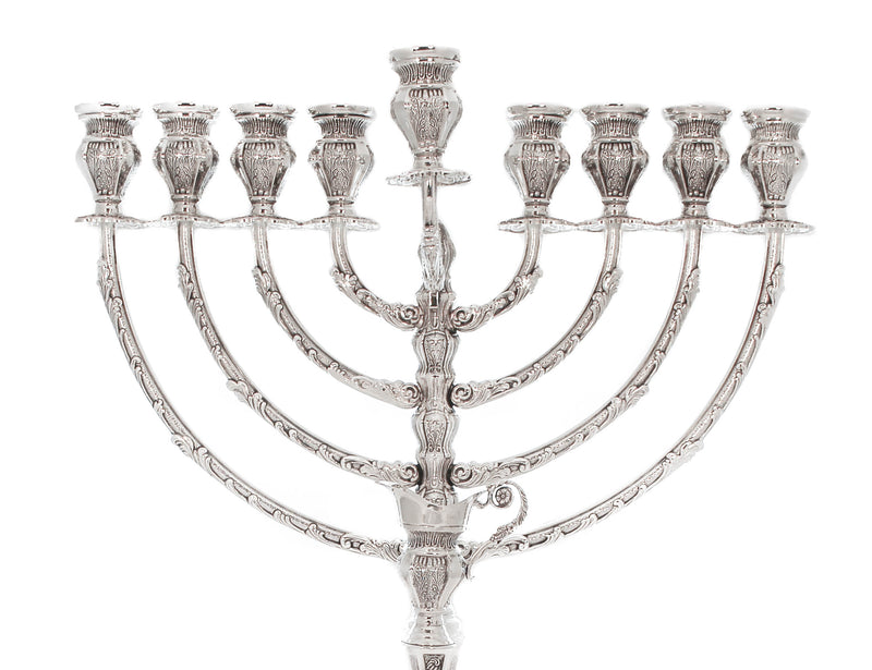 FINE 925 STERLING SILVER HAND CHASED MATTE LEAF APPLIQUE CHANUKAH MENORAH