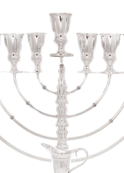 925 STERLING SILVER HAND CHASED SLEEK MODERN CONTEMPORARY AADEO CHANUKAH MENORAH