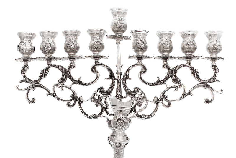 925 STERLING SILVER HANDMADE HEAVY ORNATE CHASED MILANESE ROUND CHANUKAH MENORAH