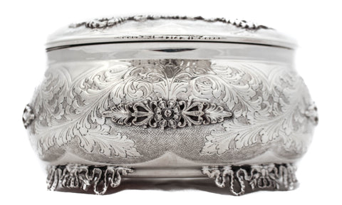 FINE ITALIAN 925 STERLING SILVER HANDCRAFTED ORNATE OVAL JEWELRY ESROG BOX