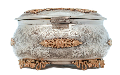 ITALIAN 925 STERLING SILVER & GOLD PLATED HAND CHASED ORNATE ESROG JEWELRY BOX