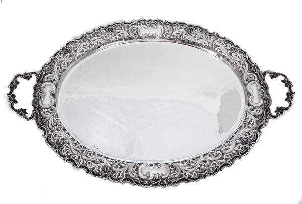 925 STERLING SILVER HANDMADE FLORAL ORNATE PIERCED BORDERED OVAL TRAY & HANDLES