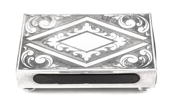 925 STERLING SILVER HANDMADE DIAMOND CUT PATTERN MATCHBOX ON LEGS