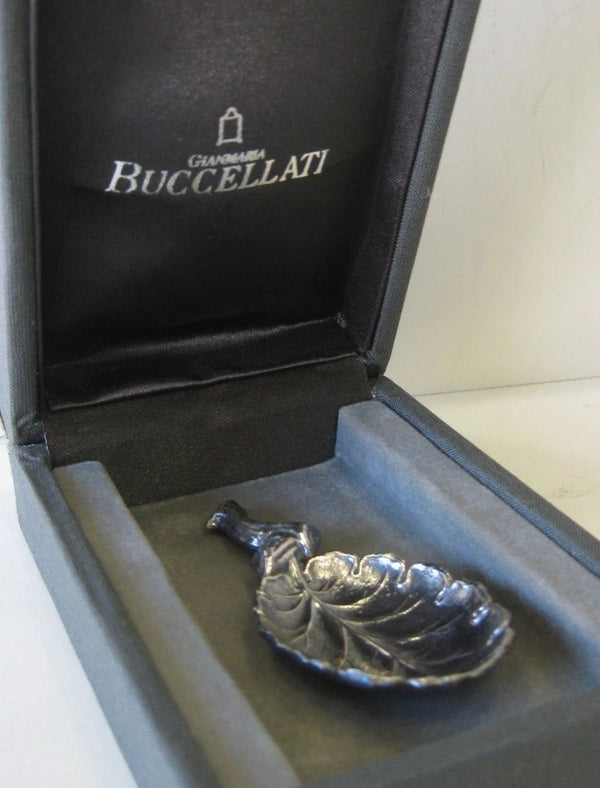 ITALIAN BUCCELLATI 925 STERLING SILVER HANDCRAFTED LEAF BRANCH SPOON
