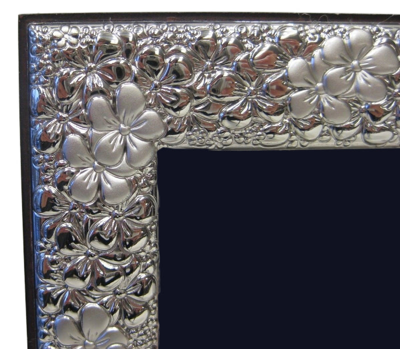 ITALIAN SILVER LAMINATE HANDMADE ELEGANT FLORAL SHINY PICTURE FRAME 3.50 X 5