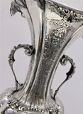 TALL ITALY 925 STERLING SILVER HANDMADE DETAILED LEAF FLORAL SWIRL ORNATE VASE