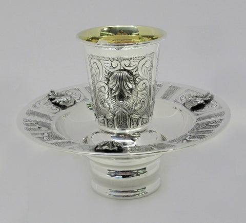 FINE 925 STERLING SILVER HANDMADE CHASED LEAF FLORAL MAYIM ACHRUNIM CUP & BOWL