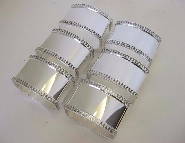ITALIAN 925 STERLING SILVER GLOSSY EMPIRE BORDER SET OF 6 NAPKIN RINGS