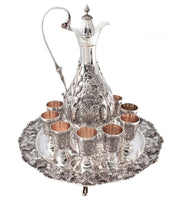 ITALIAN 925 STERLING SILVER LEAF CHASED DECANTER WITH 10 MINI CUPS & FOOTED TRAY