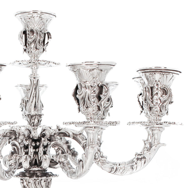 ITALIAN STERLING SILVER HANDCRAFTED ORNATE SQUARE BASE EIGHT LIGHT CANDELABRA