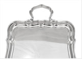 925 STERLING SILVER ITALIAN HANDMADE SCALLOPED RECTANGULAR TRAY WITH HANDLES