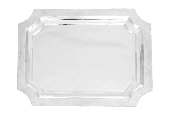 ITALIAN 925 STERLING SILVER HANDCRAFTED MODERN HAMMERED FINISH RECTANGULAR TRAY