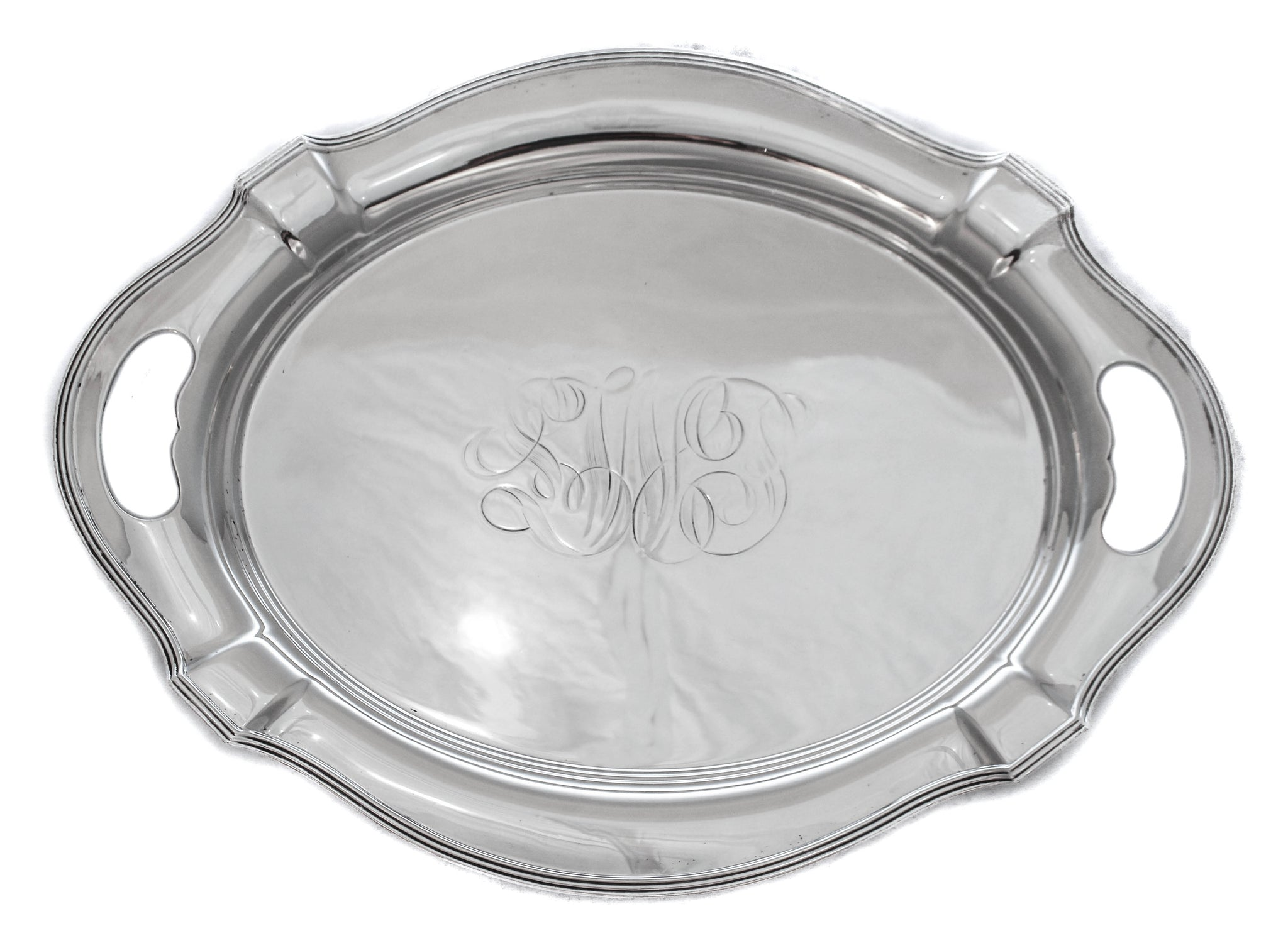 ANTIQUE 925 STERLING SILVER HANDMADE MONOGRAMMED OVAL TRAY WITH CUT OUT HANDLES