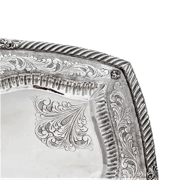 ITALIAN 925 STERLING SILVER HAND CHASED SWIRL ORNATE SQUARE SERVING TRAY