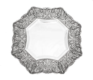 925 STERLING SILVER ITALIAN HANDMADE ORNATE EMBOSSED FLORAL DESIGN HEXAGON TRAY